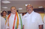 Shri V. Narasimha Reddy, Rajadhani Bank Chariman with Hon. Chief Minister of Andhra Pradesh at an event